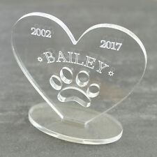 Personalised Heart Message Pet Dog Memorial Keepsake Ornament Plaque