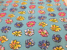 "5 Metres Sky Blue ""Petals"" Floral Printed PolyCotton Fabric. MADE IN CANADA."
