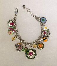 Brighton Flower Garden Charm Bracelet ~ Whimsical! ~ Enamel ~ Teapot Opens!