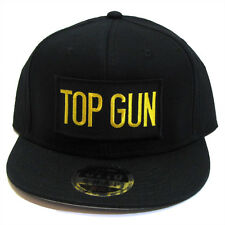 US NAVY TOP GUN Patch Flat Bill Premium Snapback Black Cap Hat - TG05