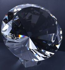 Large 5 inch 120mm clear crystal glass diamond paperweight with Stand: party