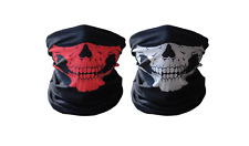 Skull masks motorcycle riding tube face mask (red and white)