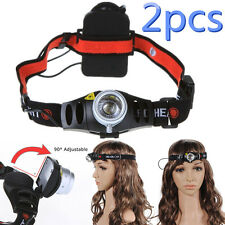 2PCS Headlamp Headlight Lamp Linterna Frontal 1200Lm XR-E Q5 LED Luz Cabeza