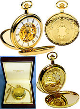 Jean Pierre Twin-Lid Hunter Skeleton Pocket Watch GP with Free Engraving (g251p)