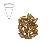 Czech Glass 5x8mm Spike Beads Crystal Lila Gold Luster Pack of 20 (M43/2)