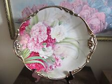 JPL J. Pouyat Limoges France Handpainted Charger Plate Signed Carnations Flowers