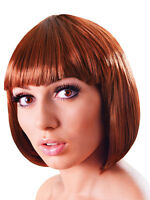 Brown Bob Wig Short Fancy Dress Flapper Fashion Babe Hairpiece 1920's New Adult