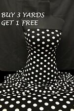 Black White Polka Dot Spots 4 Way STRETCH Soft Touch Jersey Lycra Dress Fabric