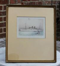 BLUE STAR LINE TSS ARANDORA STAR BOUGHT ONBOARD RARE HAND COLOURED ENGRAVING