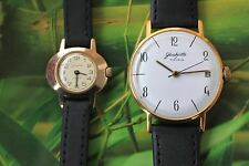 2x GERMAN GOLD-PLATED WATCH GLASHUTTE 17 JEWELS FOR YOU AND FOR HER - BARGAIN!