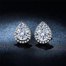 Water-drop Shaped 18K Gold Plated Shiny CZ Gem Stud Earrings Fine Bride Earrings