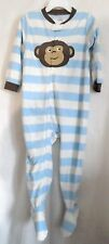 BOYS 3T WICKED BLUE STRIPE BROWN MONKEY SUPER COZY FOOT ZIP SLEEPER NWT CARTER'S