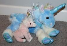 "Lot of 2 15"" Animal Alley TY Unicorn Plush Pink Blue Sparkly Mythical Plush RARE"