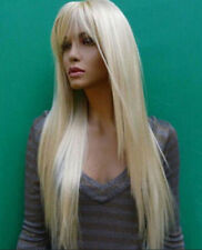 Women Fashion Wig Long Blonde Straight Synthetic Hair Cosplay Full Wig