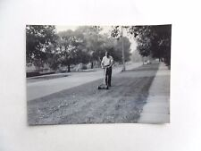 1950s B/W Photograph. Man Mowing Grass Verge Outside 46 Montrose Ave, Welling.