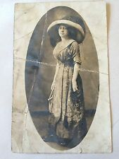 Edwardian Woman Ostrich Feather Hats RPPC Real Photo Postcard 1900s Antique