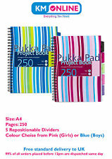 A5/A4 Blue Pink Stripe Fashion Project Book 250 Pages 80gsm Wirobound Pukka Pad