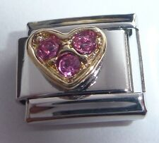 GOLD HEART PINK GEMS Italian Charm fits 9mm Classic Bracelets I Love You October