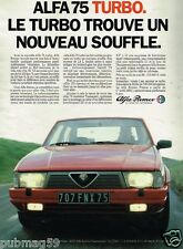 Publicité advertising 1986 Alfa Romeo 75 Turbo