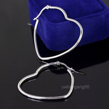 Wholesale 5 Pairs Silver Stainless Steel Heart Style Fashion Hoop Earrings 42mm