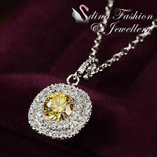 18K White Gold GP Stunning Swarovski Lab Diamond Bezel Set Double Halo Necklace