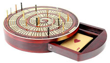 Spiral Shape Round Cribbage Board Continuous 4 track with drawer & 20 metal pegs