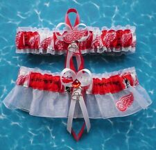 Detroit Red Wings Fabric  Wedding Garter Set Prom Hockey Double Heart Charm