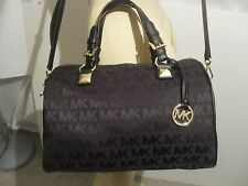 Michael Kors Grayson LARGE Satchel Jacquard Black Tote Crossbody Bag Purse New