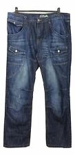 NO FEAR Jeans Waist 36in L32in Blue Cargo Cotton Casual Everyday