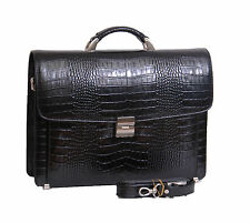 Mens Real Leather BLACK Briefcase Crocodile Top High Quality Work Office Bag NEW