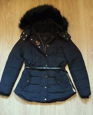 IMMACULATE ZARA DOWN PUFFA JACKET COAT BLACK IN SIZE S 10 FUR HOODED WITH BELT