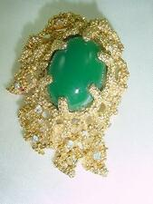 VTG D'Orlan Boucher Gold Plated Coral Shape Framed Emerald Green Stone Pin #1414