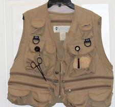 Fly Fishing Vest Columbia Sportswear Mens M Camo Tan PFG Lots Pockets Zippers
