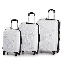 IT Luggage Skulls 4 Wheels Trolley Set 3 Pcs White