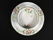 Beautiful Nippon Shrimp Plate or Chip & Dip Hand Painted Mark 8 Pinks Blue White