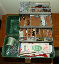 Vintage Fishing Tackle Box Plano 4250 Molding Co Green Plastic Full of Contents