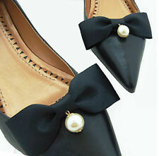Pearl Wedding Bridal Black Ribbon Bow Butterfly High Heel Shoe Clips Pair -CA