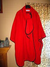 HIGHLAND HOME INDUSTRIES Scotland RED WOOL Women's PONCHO Spring Coat XL 2XL 3XL