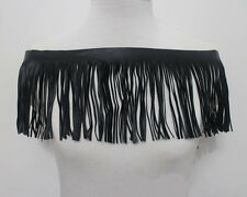 1 Yard Black Soft Faux Leather Fringe Tassel Trimming Lace Wide 14.5cm