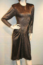 XS~S BLACK BRONZE STRETCH METALLIC AVANT GARDE VTG 80s 40s PARTY COCKTAIL DRESS