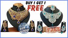 BOLLYWOOD KUNDAN ZERCONIC PARTYWEAR &  BRIDAL NECKLACE SET BUY ONE GET ONE FREE
