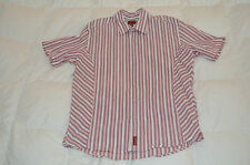 Authentic Tommy Hilfiger Red Label Denim Pink Crinkle Short Sleeve Shirt Mens L