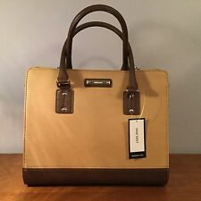 NWT Womens Nine West Brown Spring Satchel Purse Leather Tote Evening Doctor Bag