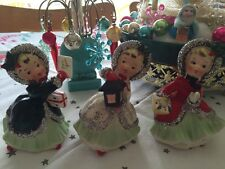 Vintage Napco Rare Christmas Ceramic Figurine Girls Japan Set Of 3