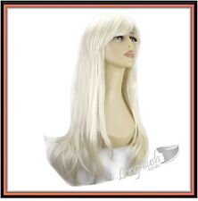 "22"" LADIES HAIR FULL WIG LONG FLICK #16-60 PLATINUM BLONDE"