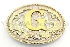 """Initial """"G"""" Letter Oval Gold & Silver Rodeo Western Cowboy Metal Belt Buckle"""