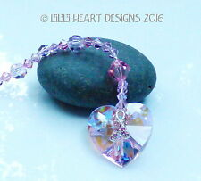 m/w Swarovski Heart + Breast Cancer Silver Ribbon Suncatcher Lilli Heart Designs