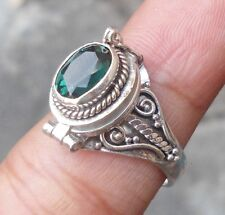 925 Sterling Silver-Balinese Poison/Pill Locket Ring W Green Quartz Size 6-PR10