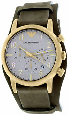 Emporio Armani AR1832 White Dial Brown Leather Strap Chronograph Men's Watch