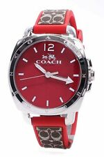 Coach Women's Trainer Boyfriend Red Dial Brown Silicone Band Watch 14502226